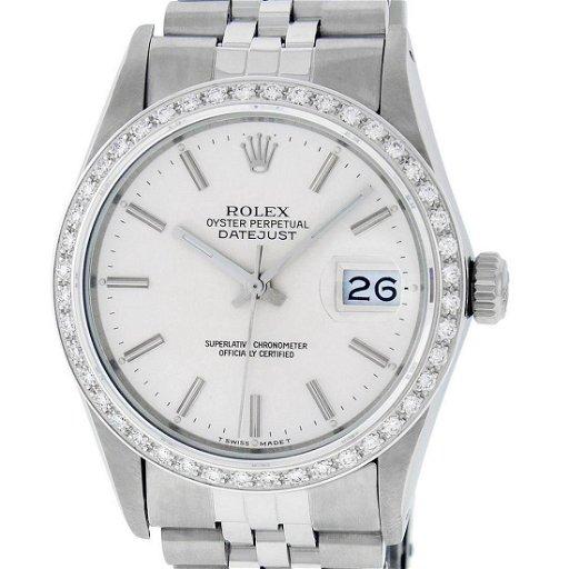 Rolex Mens Stainless Steel Silver Index 36MM Diamond