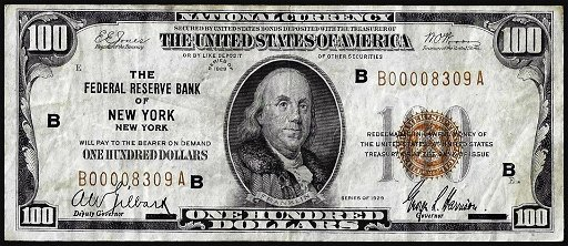 1929 $100 Federal Reserve Note New York