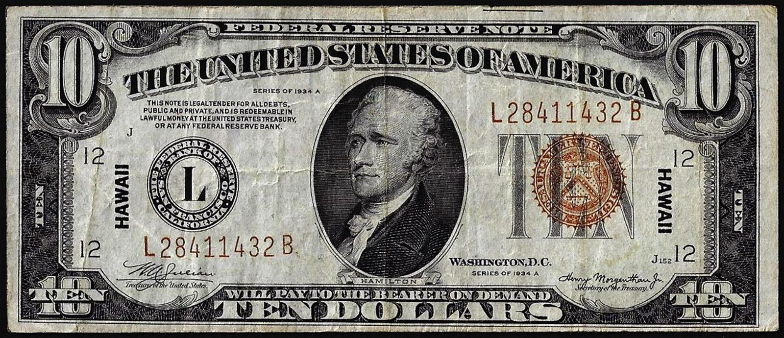 1934A $10 Federal Reserve WWII Emergency Hawaii Note