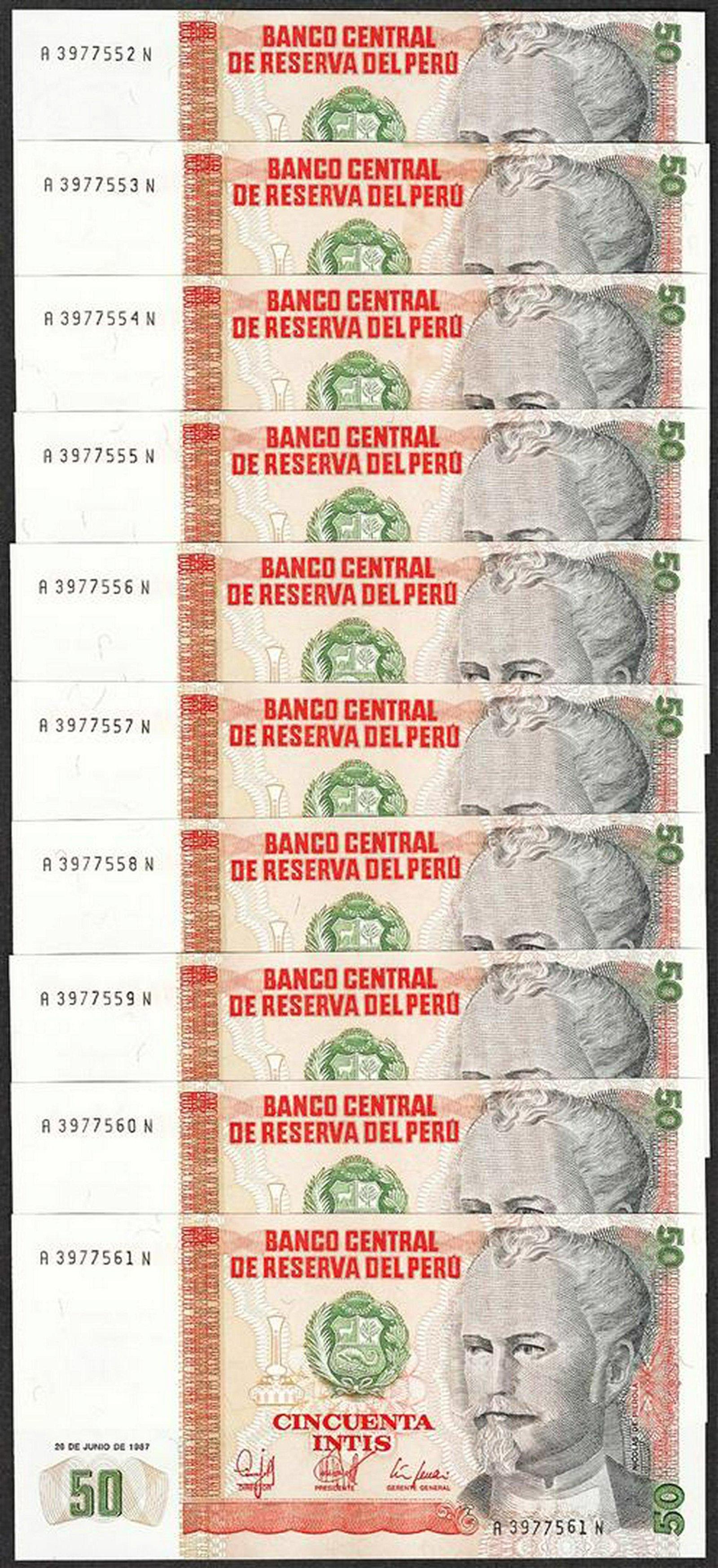 Lot of (10) 1987 Peru Cincuenta Intis Uncirculated Bank