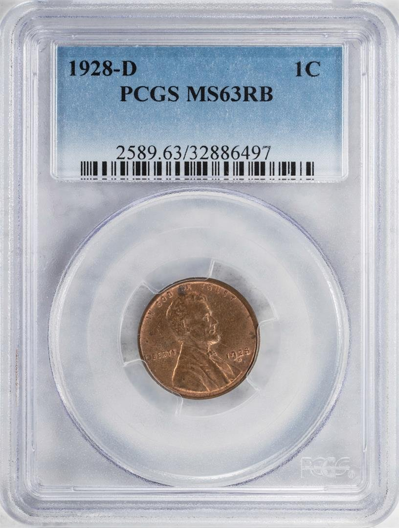 1928-D Lincoln Wheat Cent Coin PCGS MS63RB