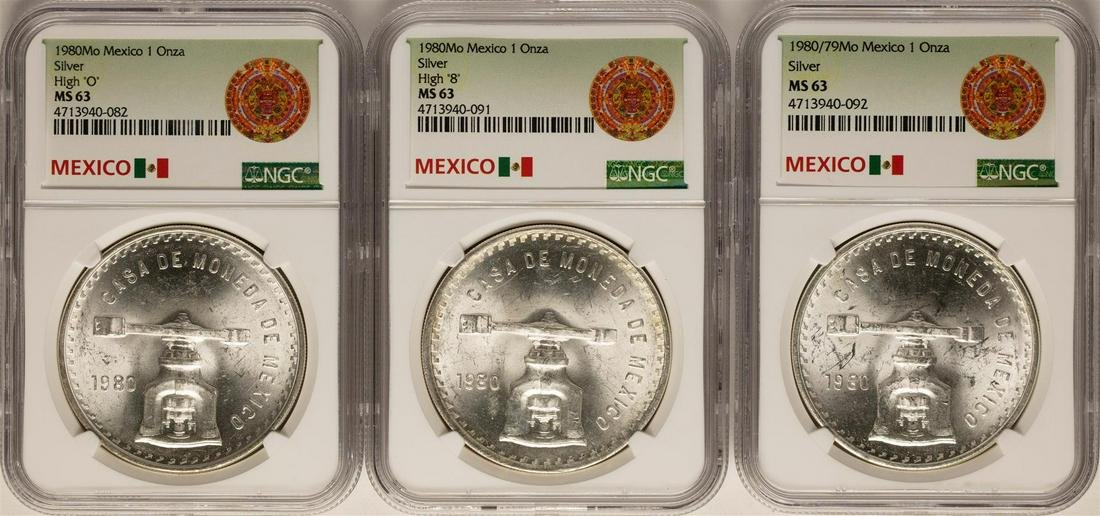 Lot of  (3) 1980Mo Mexico 1 Onza Silver Coins NGC MS63