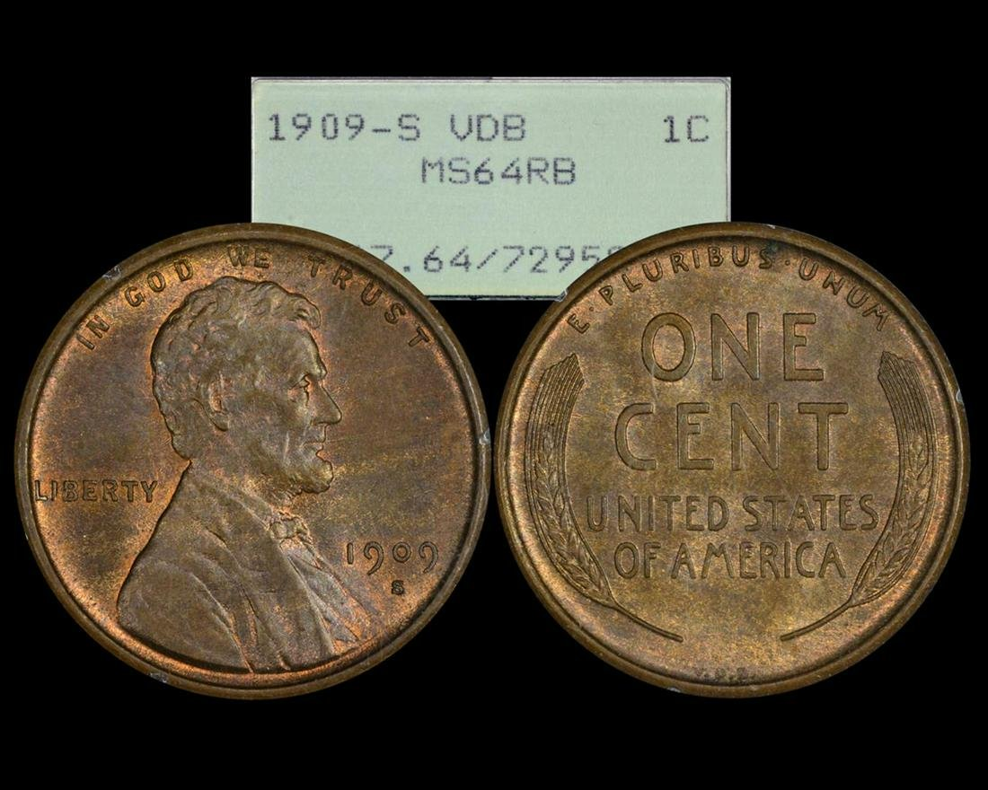1909-S VDB Lincoln Wheat Penny Coin PCGS MS64RB Old