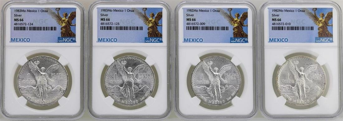 Lot of (2) 1982Mo & (2) 1983Mo Mexico Libertad Onza