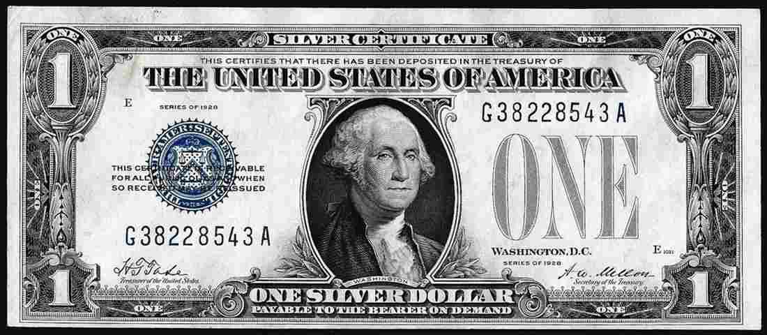 1928 $1 Funnyback Silver Certificate Note