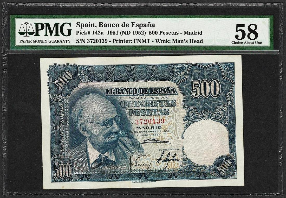 1951 Spain Banco de Espana 500 Pesetas Note Pick# 142a