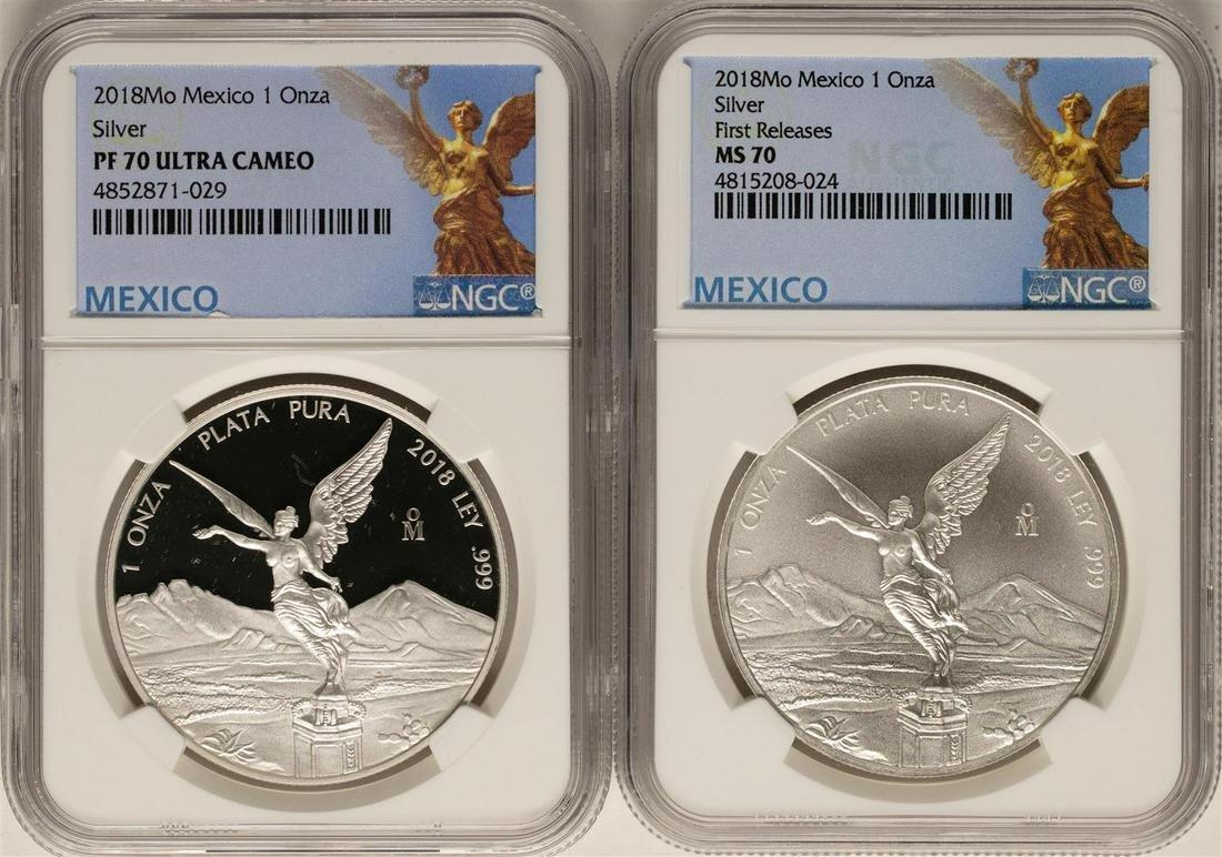 Set of 2018 Mexico 1 Onza Silver Libertad Coins NGC