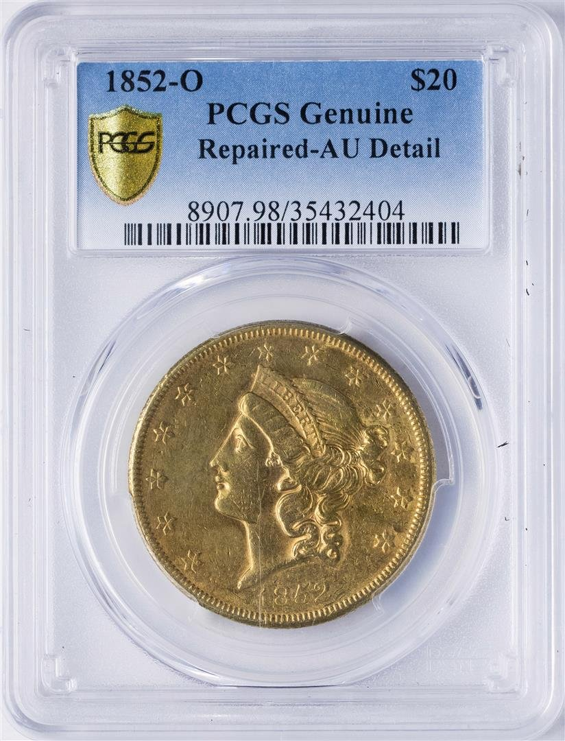 1852-O $20 Liberty Head Double Eagle Gold Coin PCGS AU