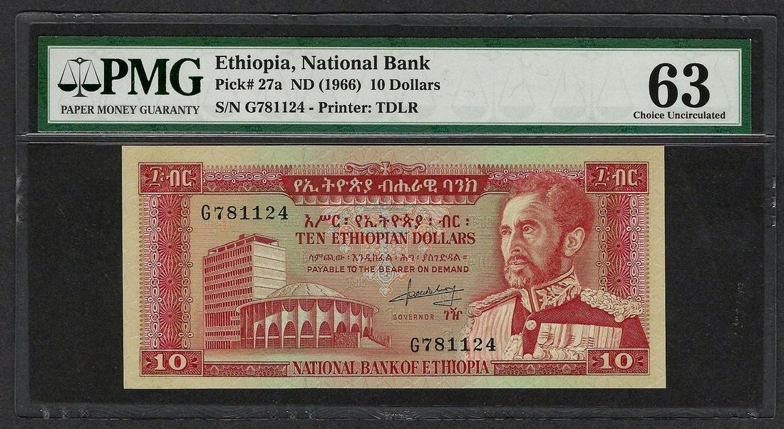 1966 National Bank Ethiopia 10 Dollars Note Pick# 27a