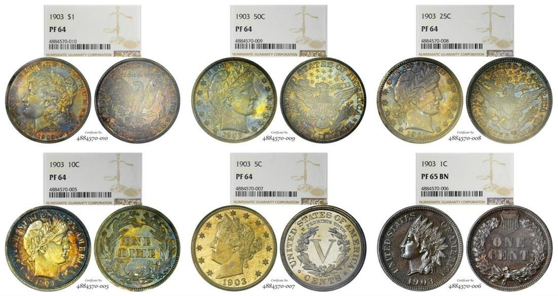 Rare 1903 (6) Coin Proof Set NGC Graded PF64/PF65 BN