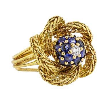 18KT Yellow Gold 1.00ctw Sapphire and Diamond Ladies