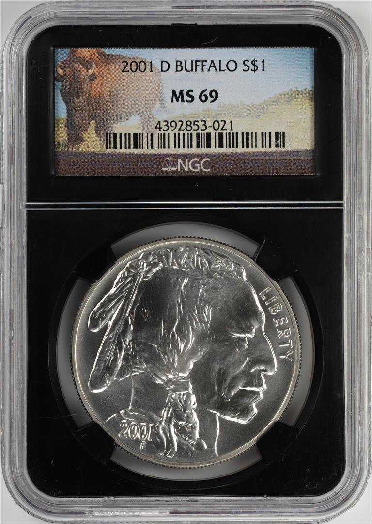 Mint State 69 2001-D NGC MS-69 Silver American Buffalo Commemorative Dollar