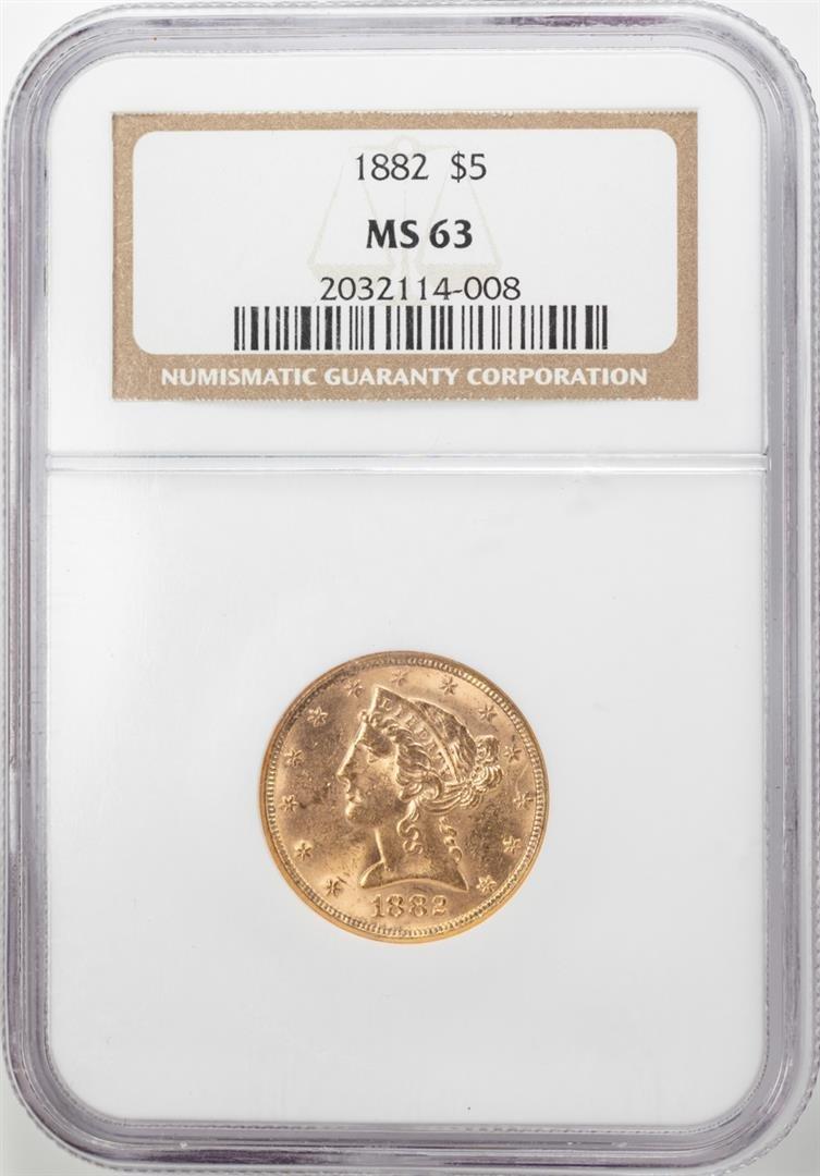 1882 $5 Liberty Head Half Eagle Gold Coin NGC MS63