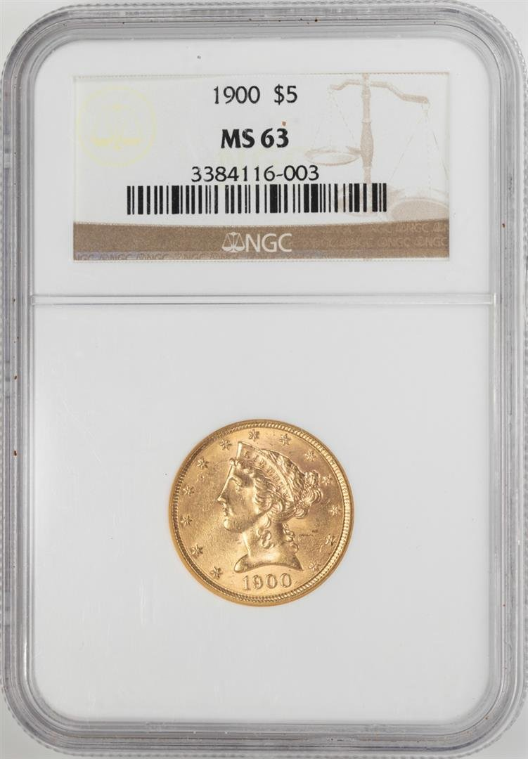 1900 $5 Liberty Head Half Eagle Gold Coin NGC MS63