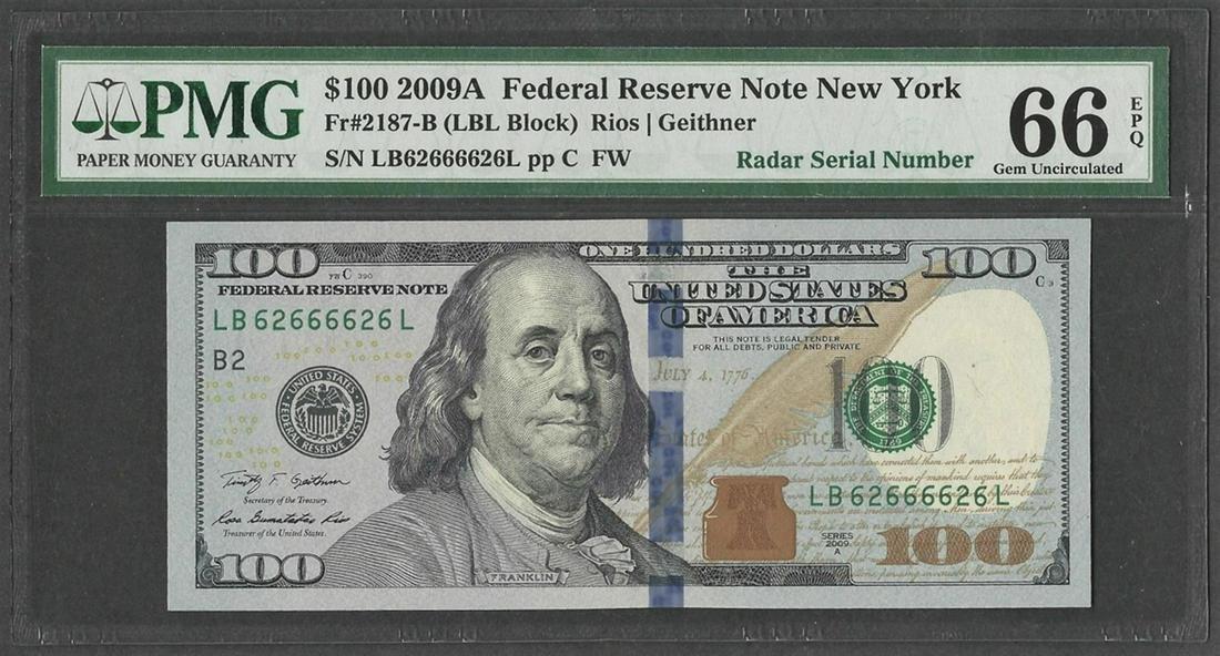 2009A $100 Federal Reserve Note Radar Serial Number PMG