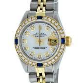 Rolex Ladies Two Tone MOP Diamond & Sapphire Datejust