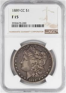 1890CC 1 Morgan Silver Dollar Coin NGC F15