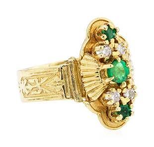 14KT Yellow Gold 070ctw Emerald and Diamond Ring
