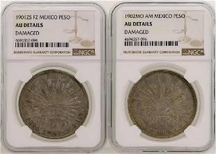 Lot of 1901ZS 1902MO Mexico Pesos Silver Coins NGC