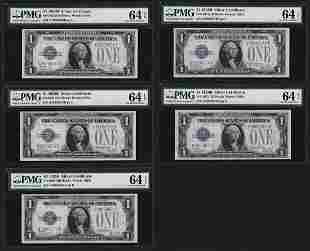 5 Consecutive 1928B 1 Silver Certificate Notes