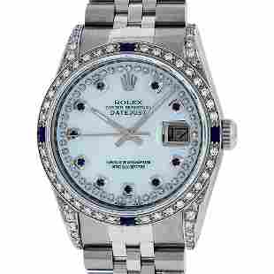 Rolex Mens Stainless Steel MOP Diamond Lugs Sapphire