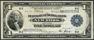 1918 1 Federal Reserve Bank Note New York