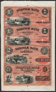 Uncut Sheet of 1800s 1123 Norfolk Bank CT