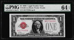 1928 1 Legal Tender Note Fr1500 PMG Choice