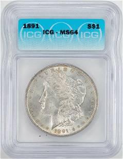 1891 1 Morgan Silver Dollar Coin ICG MS64