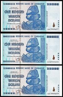 Lot of 3 Consecutive Zimbabwe One Hundred Trillion