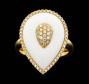 14KT Rose Gold 456ct White Onyx and Diamond Ring