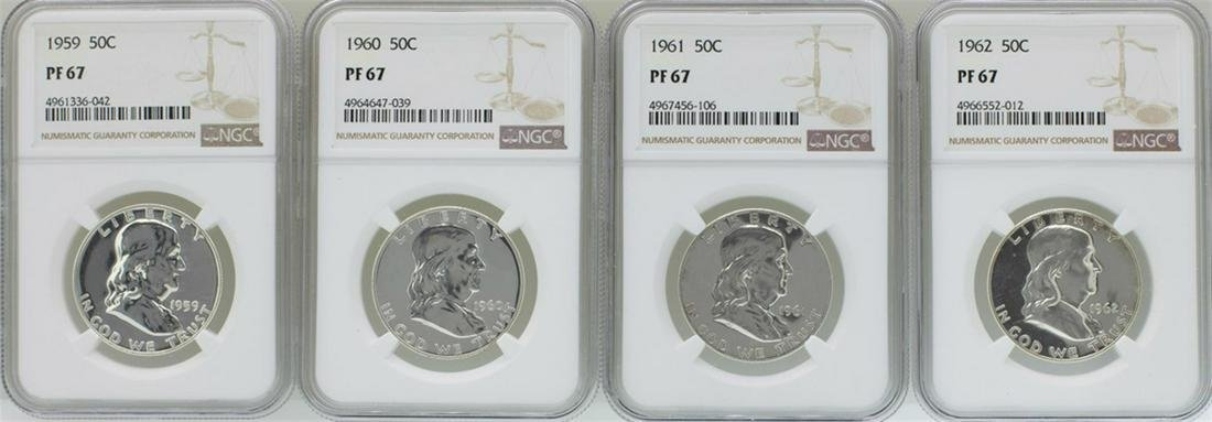 Lot of 1959-1962 Proof Franklin Half Dollar Coins NGC