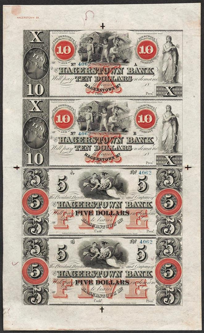 Uncut Sheet 1800's $10/$10/$5/$5 Hagerstown Bank