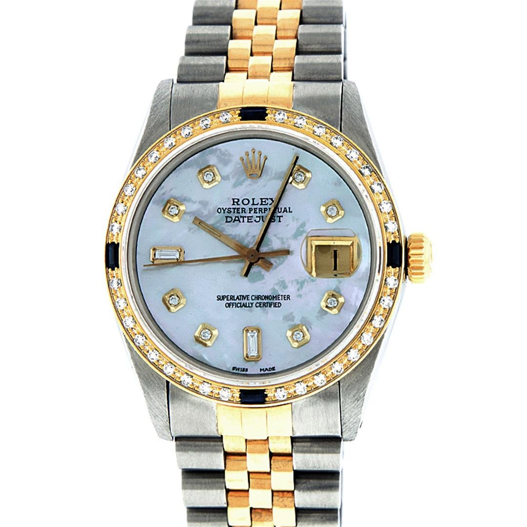 Rolex Men's Two Tone 14K Mother Of Pearl Diamond &