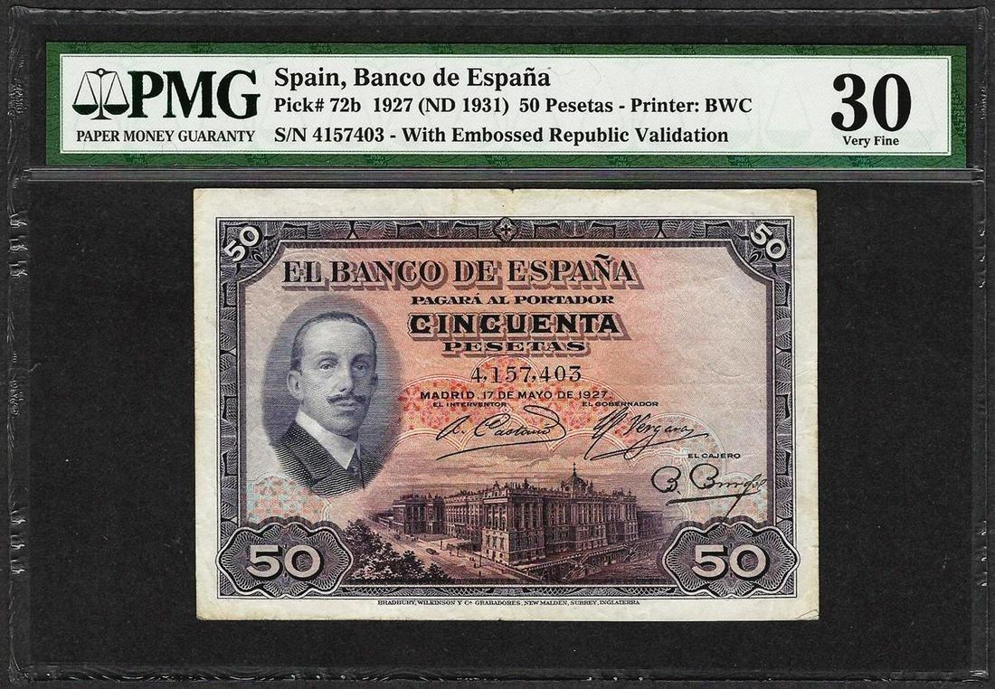 1927 Spain Banco de Espana 50 Pesetas Note Pick# 72b