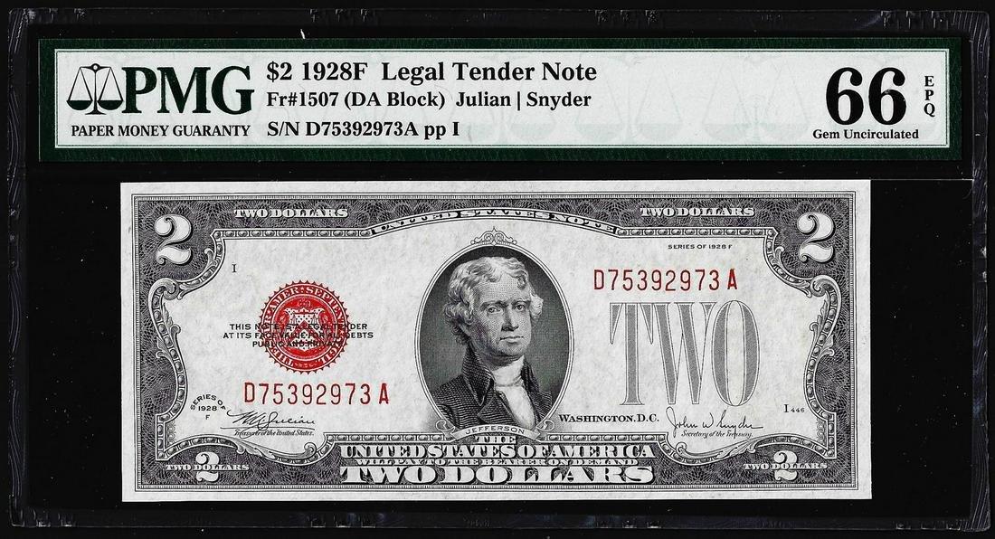 1928F $2 Legal Tender Note Fr.1507 PMG Gem Uncirculated