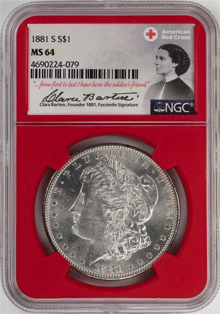 1881-S $1 Morgan Silver Dollar Coin NGC MS64 American
