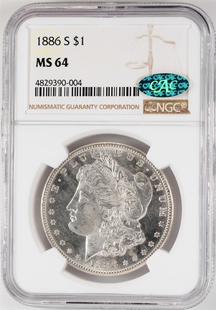 1886-S $1 Morgan Silver Dollar Coin NGC MS64 CAC
