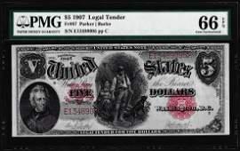 1907 $5 Woodchopper Legal Tender Note Fr.87 PMG Gem