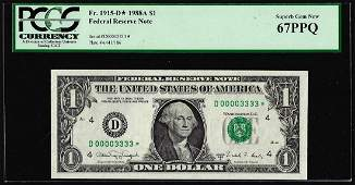 Fancy Serial # 1988A $1 Federal Reserve STAR Note