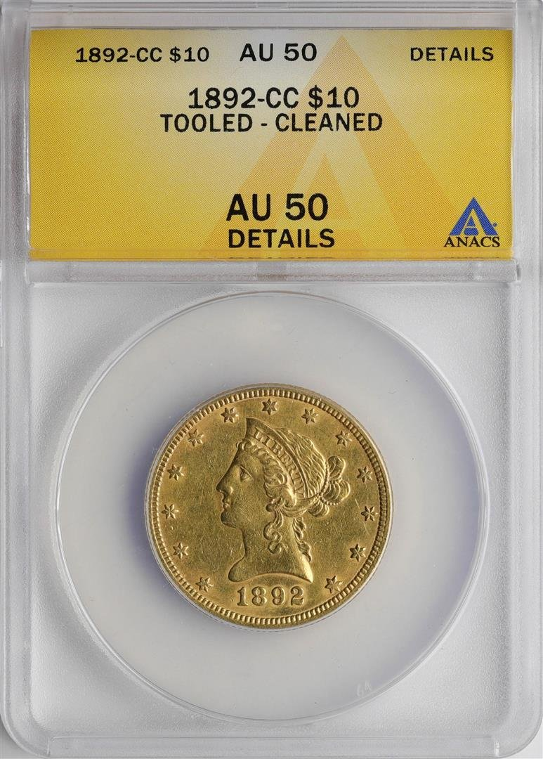 1892-CC $10 Liberty Head Half Eagle Gold Coin ANACS