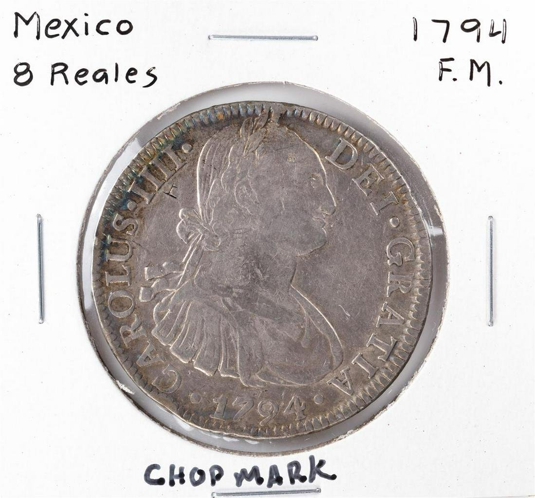 1794 F.M. Mexico 8 Reales Carlous IIII Silver Coin