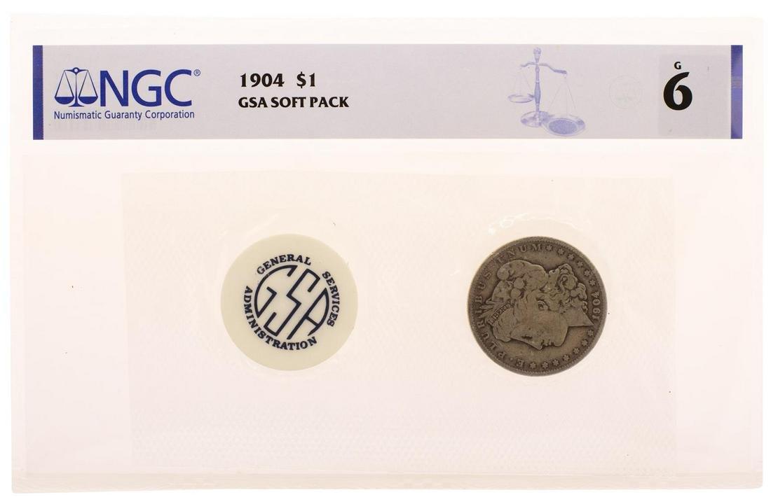 1904 $1 Morgan Silver Dollar Coin GSA Soft Pack NGC G6