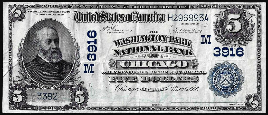 1902 Date Back $5 Washington Park NB of Chicago, IL CH#