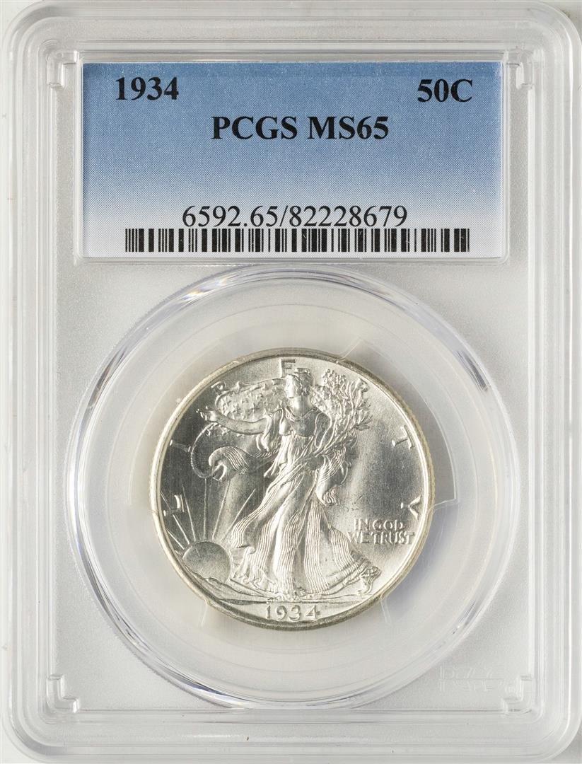 1934 Walking Liberty Half Dollar Coin PCGS MS65