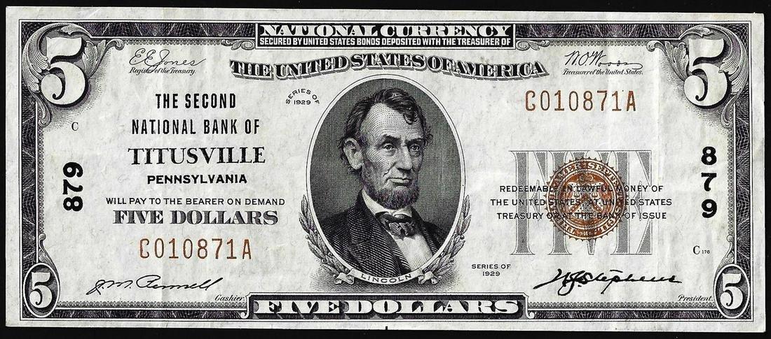 1929 $5 Second NB of Titusville, Pennsylvania CH# 879