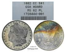 1882CC 1 Morgan Silver Dollar Coin GSA Hoard NGC MS62