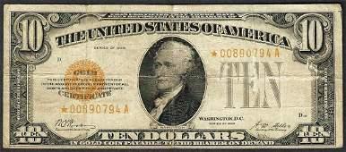 1928 $10 Gold Certificate Star Note