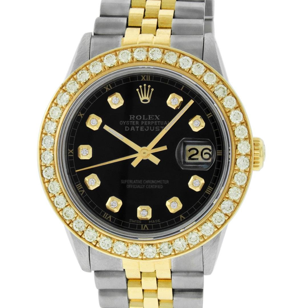 Rolex Mens Two Tone 18K Black 1.9ctw Diamond Datejust