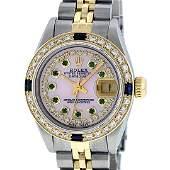 Rolex Ladies Two Tone 14K Pink MOP Diamond Emerald